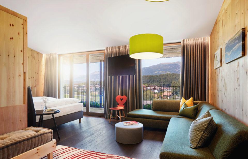 Ansicht der holzius (soligno) Suite im Hotel Rudolf - naturbelassene Massivholzwände