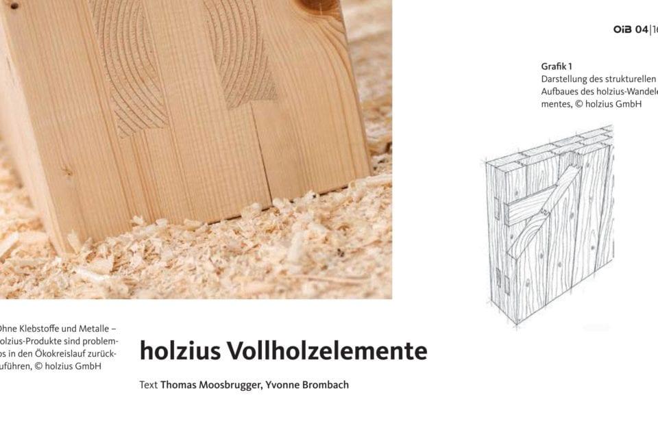 Produktnews holzius Vollholzelemente - OIB aktuell Nr
