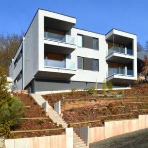 Büro- und Mehrfamilienaus Bad Brückenau, gebaut mit holzius Vollholzelementen