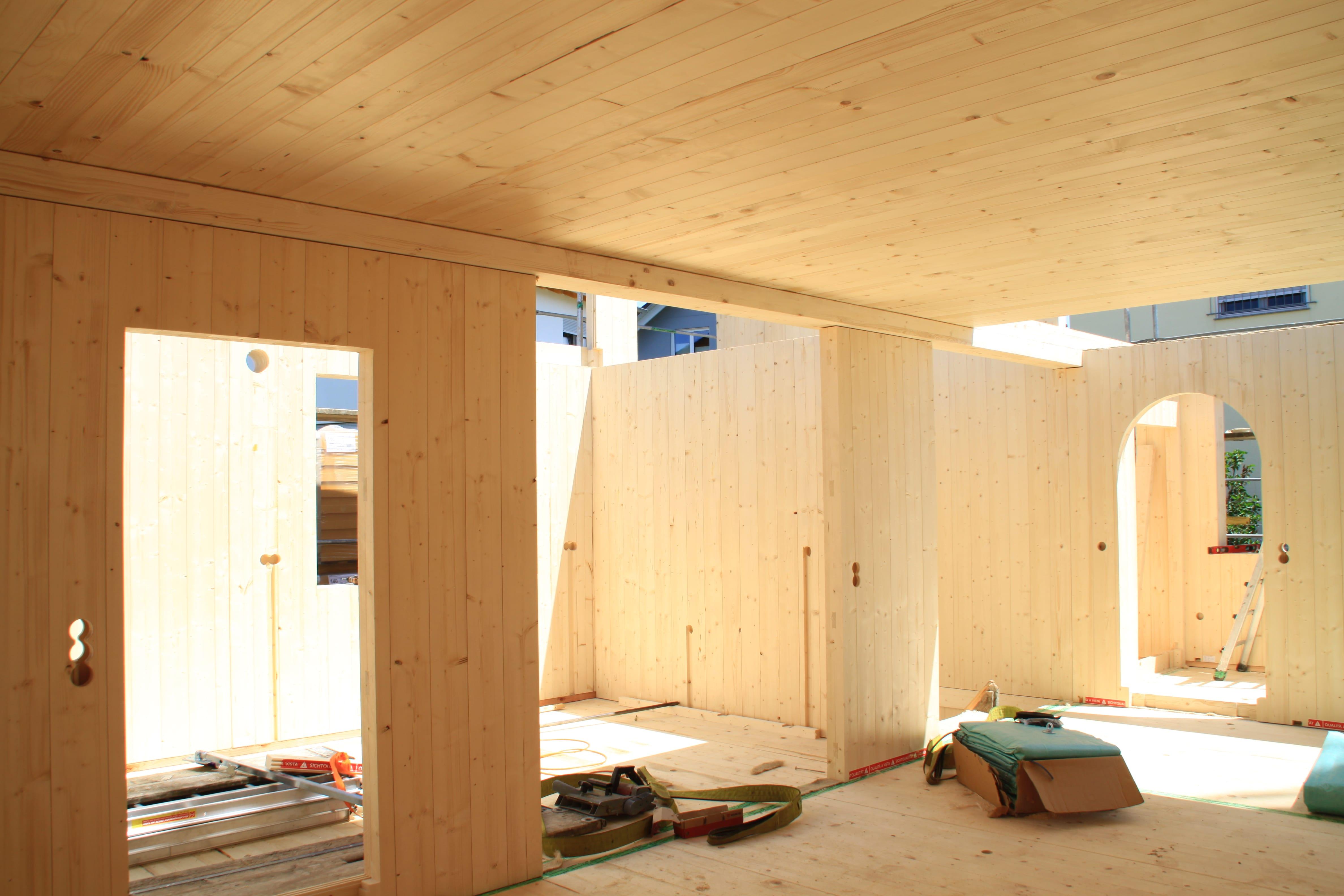 holzius Vollholzhaus in Salach - Innenräume im Rohbauzustand